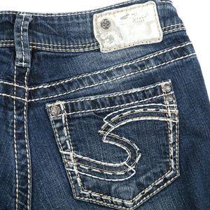 Silver Suki Distressed Thick Stitch Boot Cut Jeans